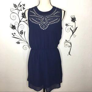 Collective concepts blue dress sheer back medium